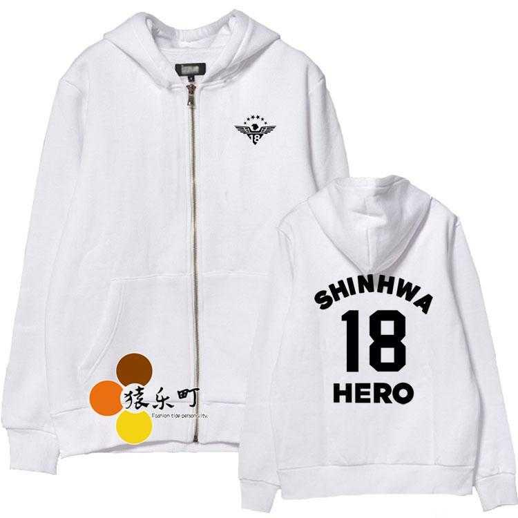 Kpop shinhwa 18th year concert hero member name printing zipper jacket men women hoodie jacket fleece sweatshirt