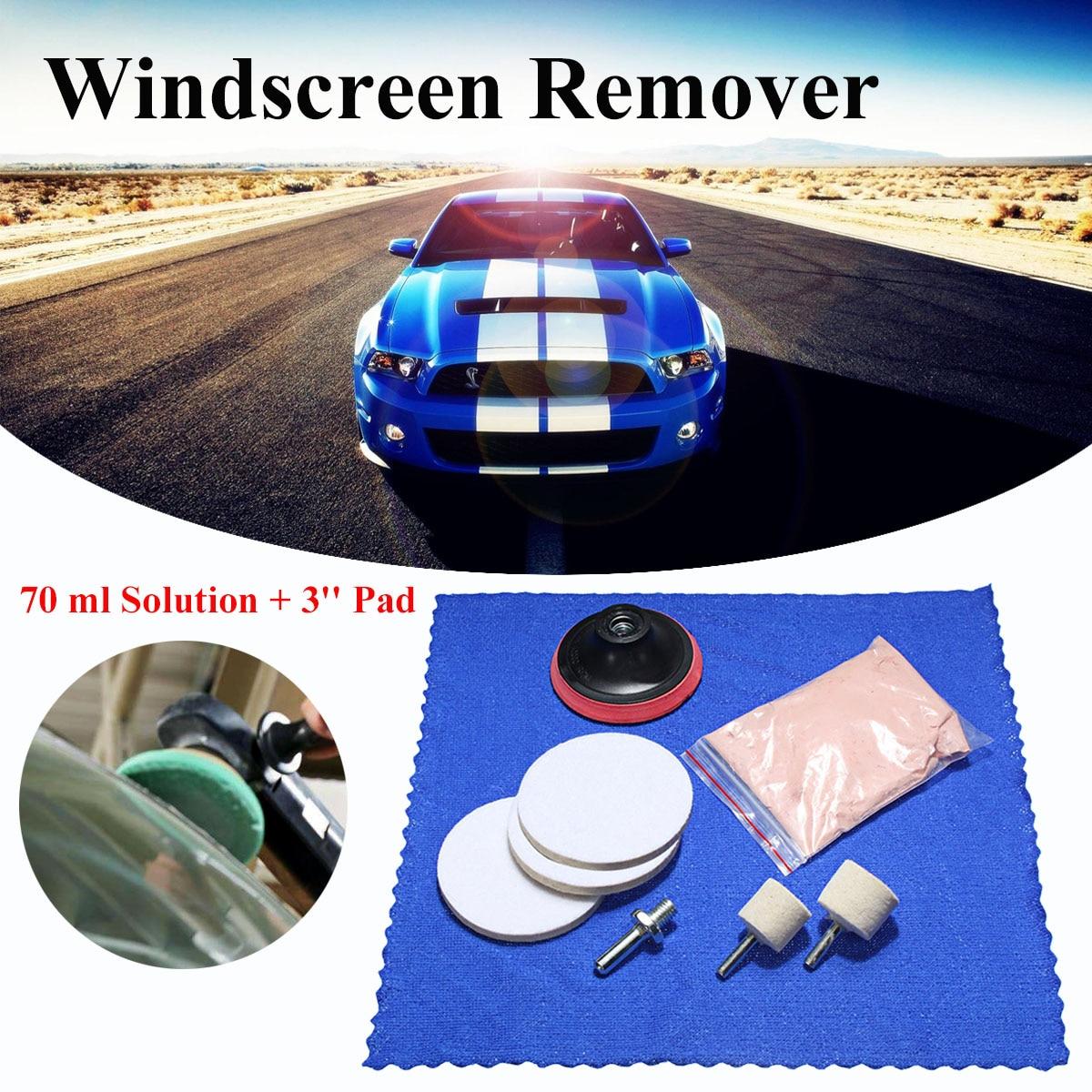 8 stücke Auto Windschutz Glas 70g Ceroxid Pulver + 3 ''Rad + Disc + Bohrer Adapter Fühlte scrach Entferner Polieren Kit Auto Windows