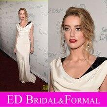 Amber Heard Promi Inspiriert Kleider Elastischem Satin 1920 s Vintage Style Formal Abendkleid Wasserfallausschnitt Weiß Prom Kleid