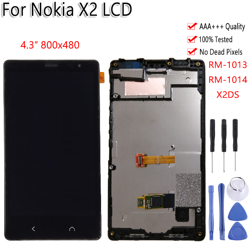 100% Tested For <font><b>Nokia</b></font> X2 X2DS RM-<font><b>1013</b></font> RM-1014 LCD Display Touch Screen With Frame Digitizer Assembly Replacement Free Tools image