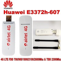 Lot of 1000pcs Unlocked New Arrival Huawei E3372 E3372h 607 4G LTE USB Dongle USB Stick with CRC9 antenna E3372 USB modem
