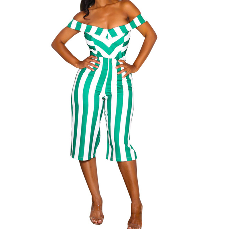 Slash Neck Summer Sexy Playsuit Women Rompers Clubwear Off Shoulder Striped Casual Slim One Piece Jumpsuits Shorts Streetwear