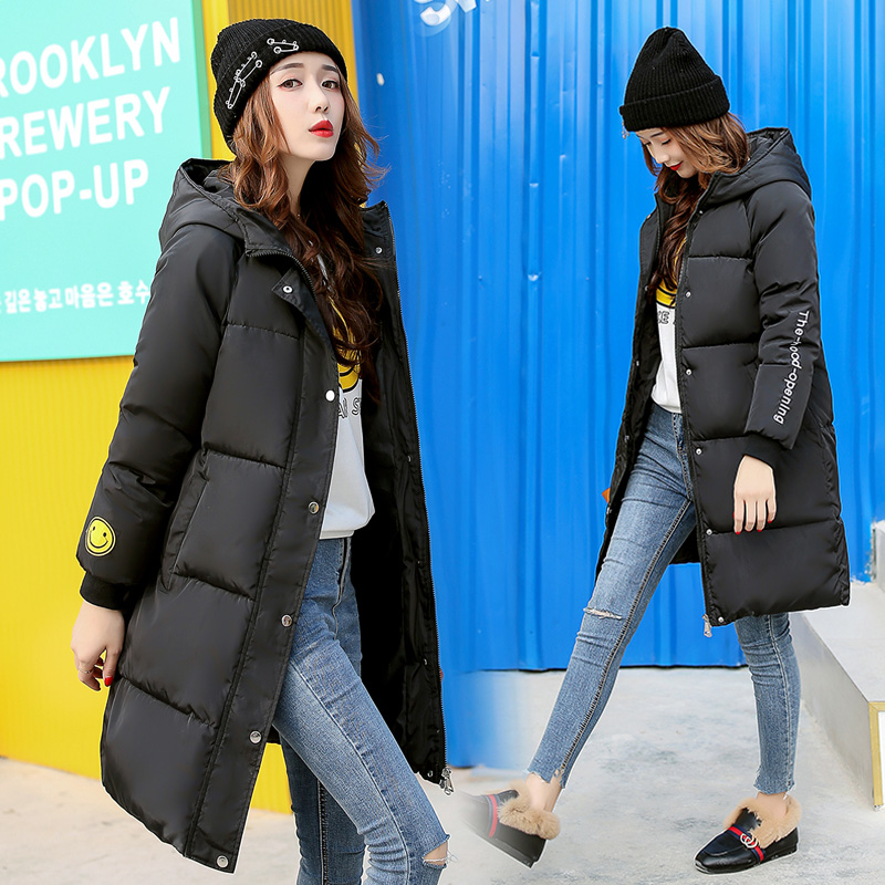 Drop Shipping Black Winter Coat Women 2018 Hot Long Parka Fashion Students Slim Female Jackets Clothing Big Size Thick Outwears