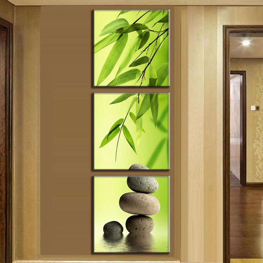 Wall Art Picture Modern Home Decoration Living Room Or Bedroom Canvas 3 Panel Bamboo And Stones Print Painting Wall Picture
