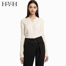 HYH Haoyihui 2018 Autumn Tops For Women  Simple Style Single Row Button Slim Body Long Sleeve Sweater Knitte Coat