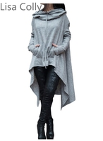 Lisa Colly 2017 Autumn Women Casual Long Hoodies Sweatshirt Coat Pockets Outerwear Hooded Jacket Plus Size