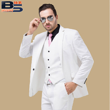 male suits white men wedding dress groom suit Male formal dress  costume male party for singer bar jacket pants vests