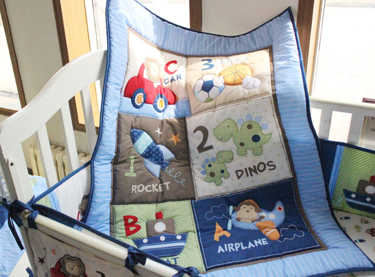 Blue Crib Bedding Sets For Boy 7 Piece Travel Car And Airplane Baby Little Pilot Comforter Sheet Skirt 4 Per