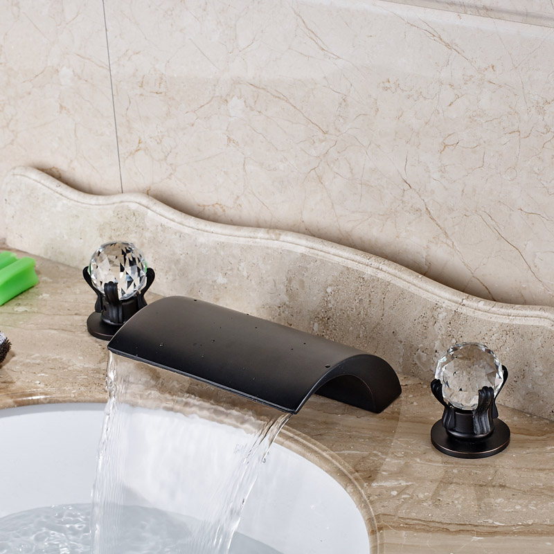 Deck Mounted Waterfall Basin Sink Faucet Dual Handle Brass Bathroom Mixer Tap Widespread 3 Holes mobilier m вальтеровское кресло