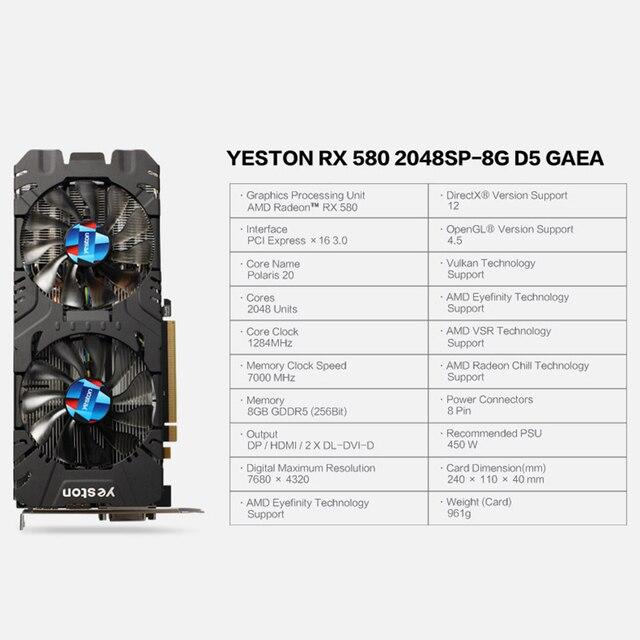 Yeston Radeon RX 580 GPU 8GB GDDR5 256bit Gaming Desktop computer PC Video Graphics Cards support DVI/HDMI PCI-E X16 3.0 2