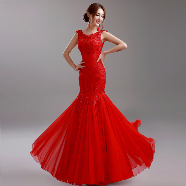 Red Evening Dress 2015 Hot Bride Lace Embroidery Long Party Prom