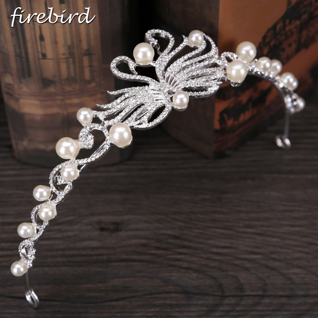 Trendy Bridal Hair Jewelry Silver Color Swans Designs Small Pearl