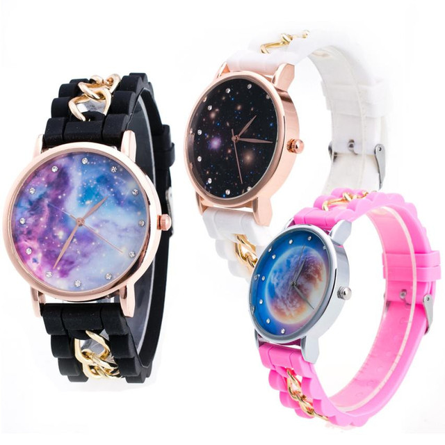 Women Girls Watch Starry Sky Pattern Silicone Band Analog Alloy Quartz Wrist Watch For children Relogio Feminino Dropshipping