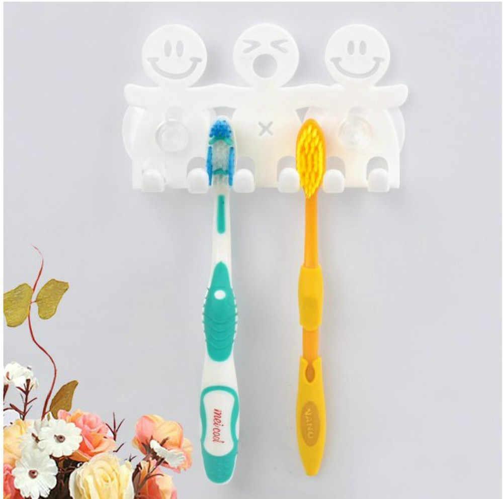 ร้อนชุดห้องน้ำน่ารัก Cartoon Sucker ผู้ถือแปรงสีฟัน/Hooks ดูด 5 ตำแหน่งแปรงฟันจัดส่งฟรี