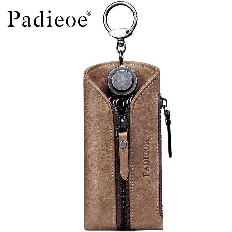 Padieoe Travel Housekeeper Genuine Leather Business Key Bag Fashion Key Chain Covers Men Key Holder Women Small Key Case