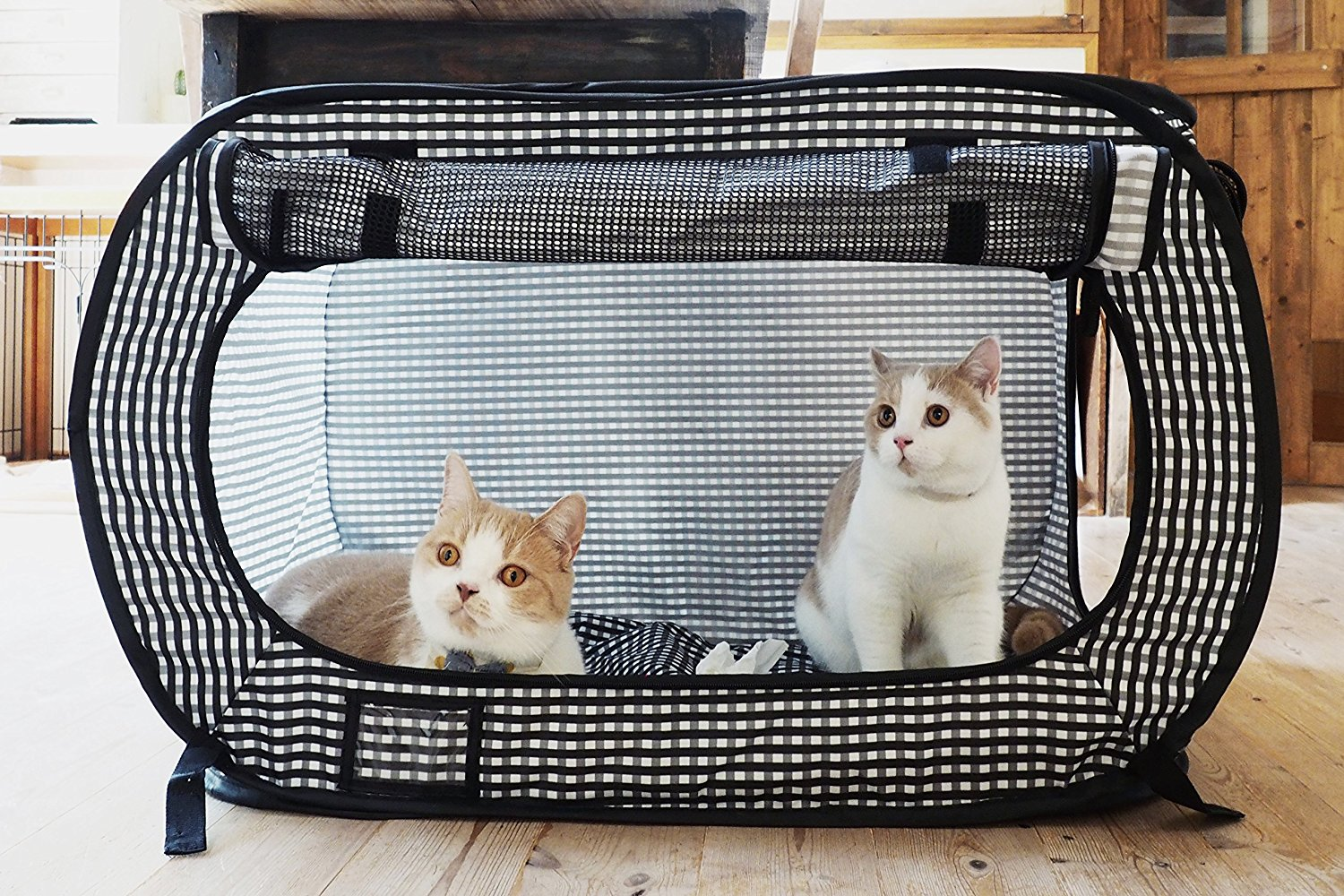 Portable Cat Cage Playpen Exercise Kennel Foldable Dogs Cat Indoor Outdoor Removable Mesh Shade Cover Travel Removable Cat Cages