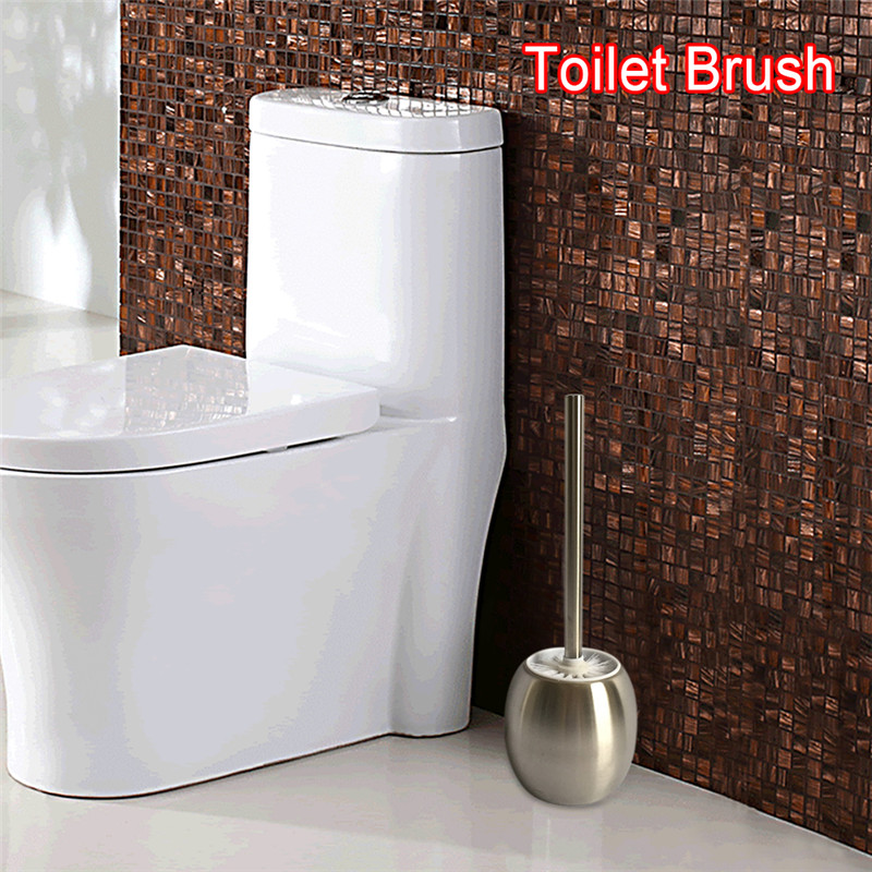 WC Brush Set Stainless Steel Toilet Brush holder Single-Pole Cleaner Straight Brush kit Bathroom cleaning Accessories