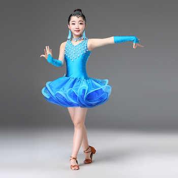 New black blue rose Red latin dance dress for girls child latin dance competition dresses girls salsa latin dance costumes girls