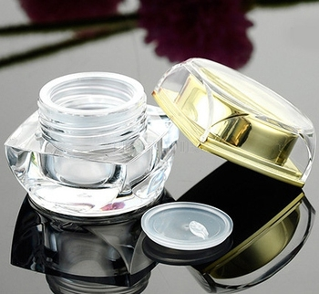 5g 10g Empty Square Acrylic Cream Jar Mini Sample Gold Silver DIY CutE Corners Cosmetic Acrylic Packing Container 100pcs/Lot