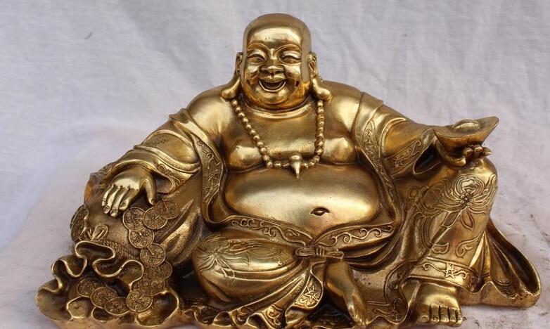Xinou 003246 14 richesse en Bronze chinois YuanBao joyeux rire Maitreya bouddha sac dargent StatueXinou 003246 14 richesse en Bronze chinois YuanBao joyeux rire Maitreya bouddha sac dargent Statue