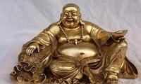 shitou 003246 14 Chinese Bronze Wealth YuanBao Happy Laugh Maitreya Buddha Money Bag Statue