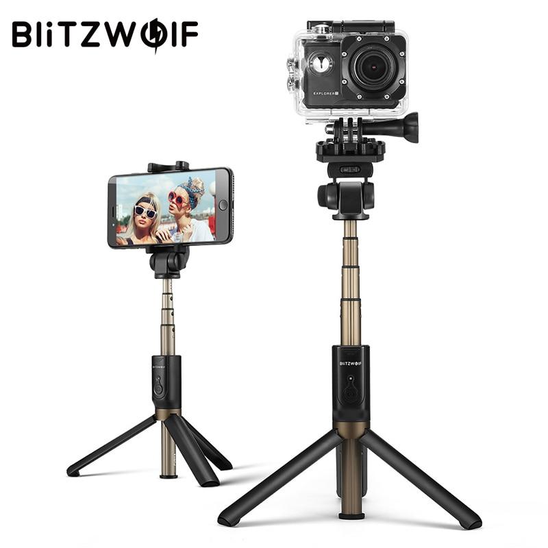 BlitzWolf 3 em 1 Sem Fio Bluetooth Selfie Vara Tripé Monopé Para A Câmera Esporte Esporte Versátil Para o iphone X 8 Smartphone