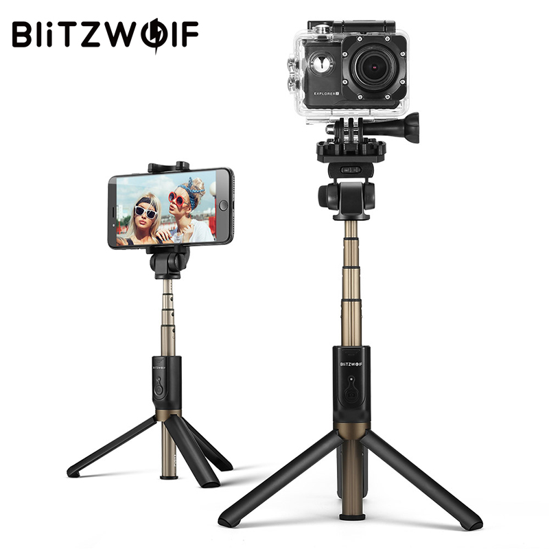 BlitzWolf 3 in 1 Wireless Bluetooth Selfie Stick Tripod Sport Versatile Monopod For Sport Camera For iPhone X 8 Smartphone for iphone xs max xr xs x selfie stick for iphone x 8 7 6 6s plus 5 5s wired selfie stick extendable monopod for lightning