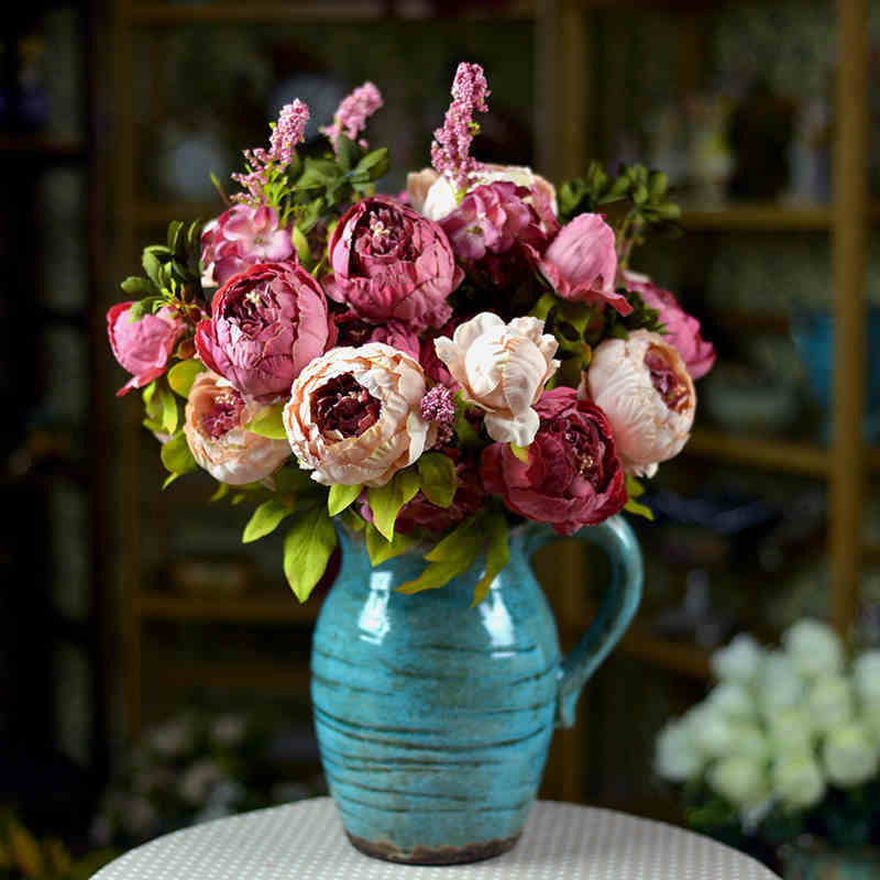 2016 silk flower european 1 bouquet artificial flowers 13 heads fall