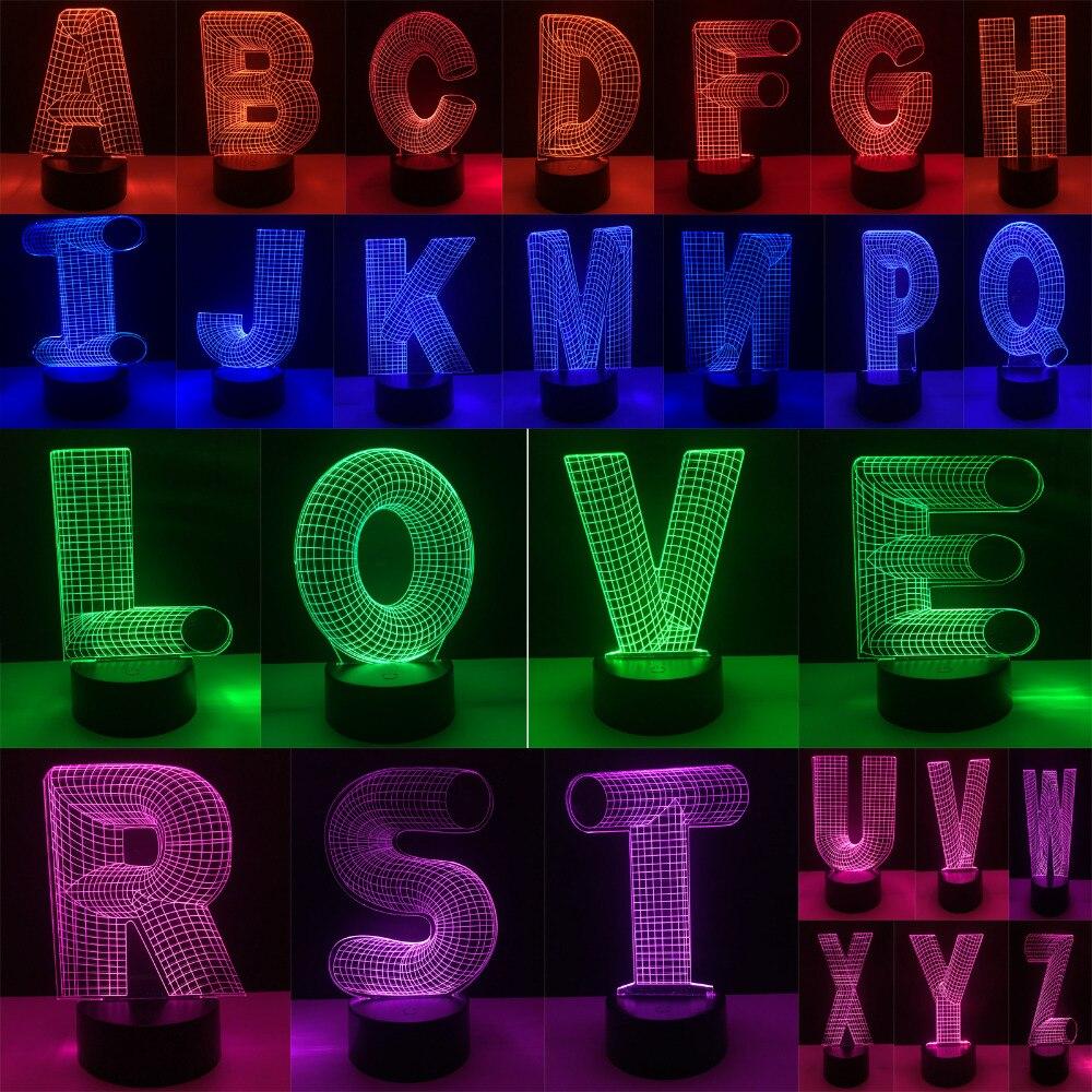 Erstaunliche 3D 26 Alphabet-buchstabe AZ 7 Farbverlauf Nachttisch ...