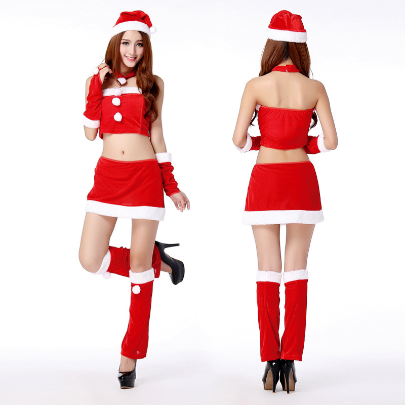New Year Merry Christmas Costumes For Girl Sexy Adult Women Christmas Dress Party Top+skirt +neck ring+hand ring+hat+leg sets