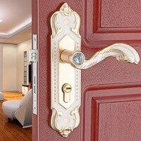 European new aluminum alloy indoor handle lock bedroom mechanical door hardwar tongue lock