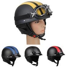 CARCHET Motorcycle Motor Open Face Helmet Black + Visor + Goggles Women Men Unisex New Style Hot Sale Motor Half Helmets