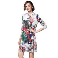 Jesień Kobiet Szyfonu Suknie Zwierząt Drukowane Luźne W Pasie Kobiet Mini Sukienka Przycisk 3/4 Rękawem Casual O-Neck Vestido de Festa N611A