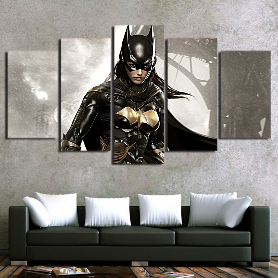 Modular Picture Painting Modern Wall Art Poster For Living Room 5 Panel Movie Batman Printed Home Decoration Artwork Canvas