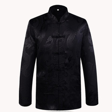 Brand New Arrival Black Chinese Traditional Men's Satin Mandarin Collar Dragon Silk Tang Suit Clothing Kung Fu Jacket Coat