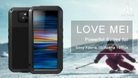 Love Mei Powerful Life Waterproof Shockproof Built in Tempered Glass Screen 360 Full Protection case for Sony Xperia 10 Plus