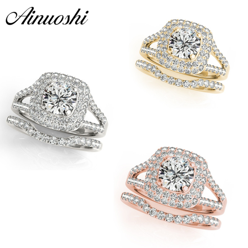 AINUOSHI 925 Sterling Silver Women Ring Set White Gold Yellow Gold Rose Gold Color Round Ring Sets Jewelry anillo de compromiso