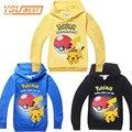 Nova Primavera 2017 Meninos 2-8Yrs Meninas Pokemon Ir Hoodies Crianças 100% Algodão T-shirts de Manga Longa Crianças Hoodies Meninos Roupas