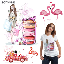 ZOTOONE Shopping Girl Iron on Transfer Patches Stripe Clothing Diy Patch Heat for Clothes Decoration Stickers Gift G