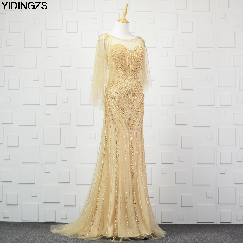 YIDINGZS Luxury Gold Silver Long Beading   Evening     Dress   Sexy Formal Party Prom   Dresses   for Woman