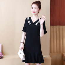 Spring and summer new style Large size L-5XL womens dress College wind ruffled black temperament