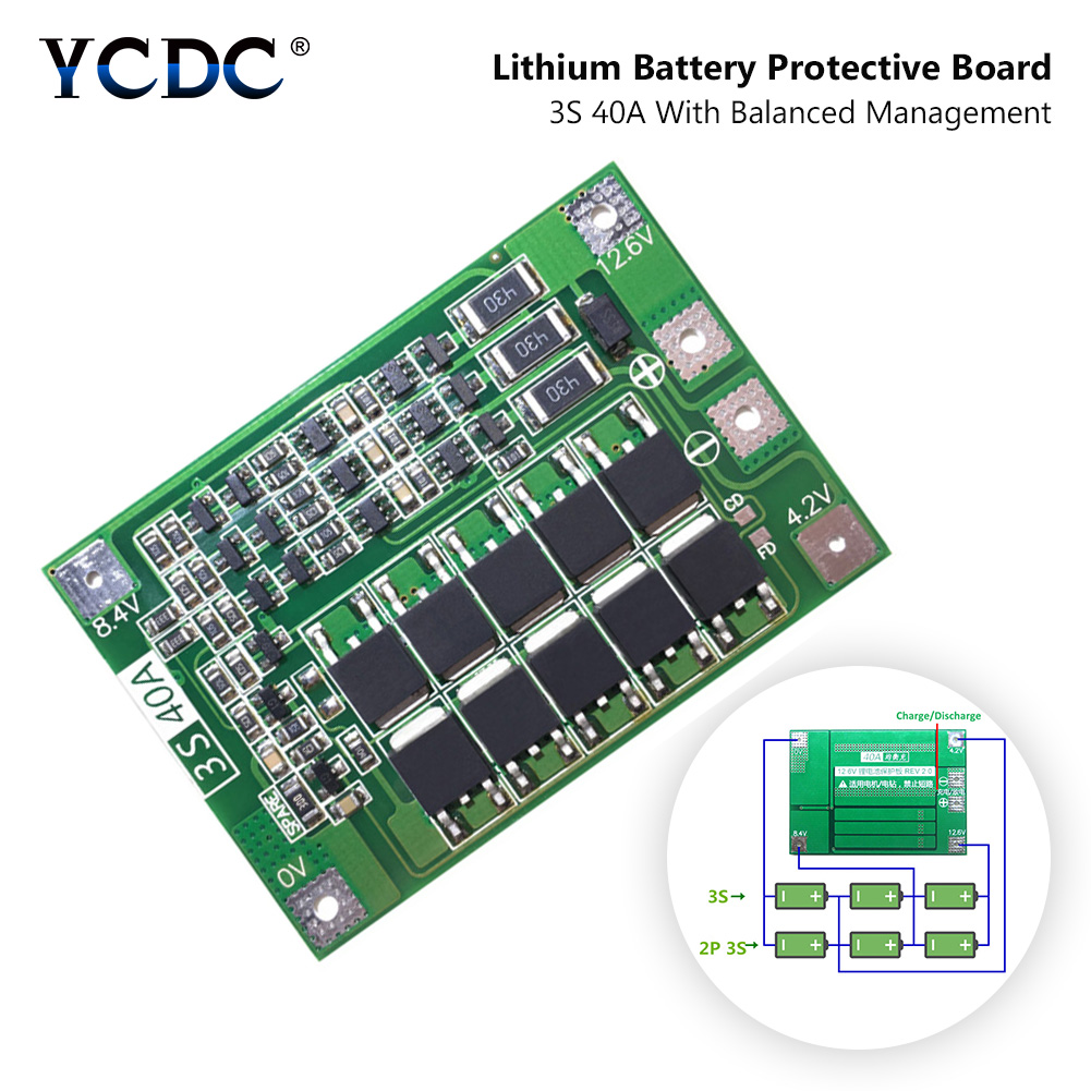 <font><b>3S</b></font> <font><b>40A</b></font> <font><b>BMS</b></font> 11.1V 12.6V <font><b>18650</b></font> Lithium Li Ion Lipolymer Battery Protection PCB Board With Balanced Version For Drill <font><b>40A</b></font> Current image