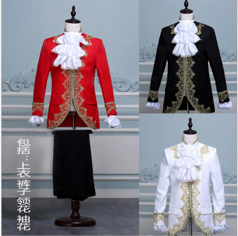 Drop Shipping King Prince Renaissance Medieval Men Cosplay Costume Coat+Pants Full Set