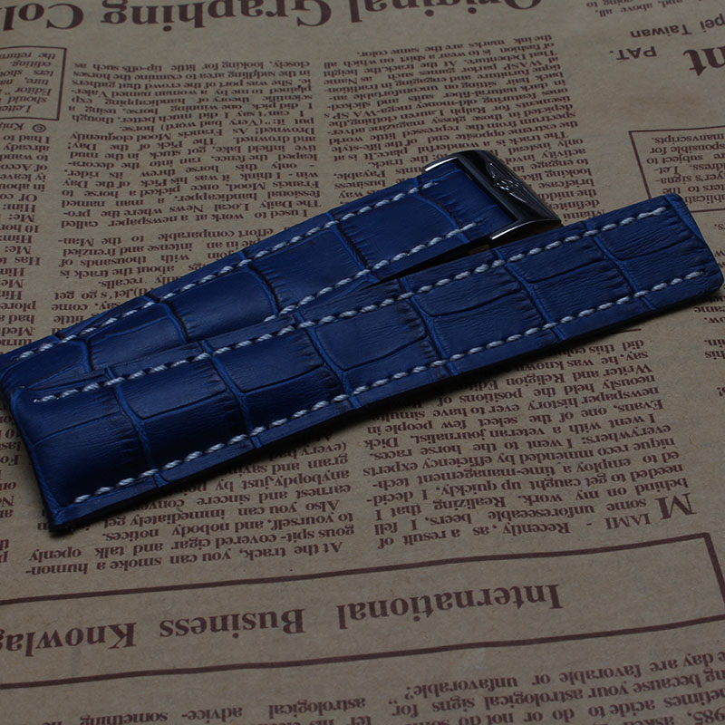 Hot sale new High Quality Blue Leather Watchband folding Buckle delpoyment Watches Accessories 22mm 24mm
