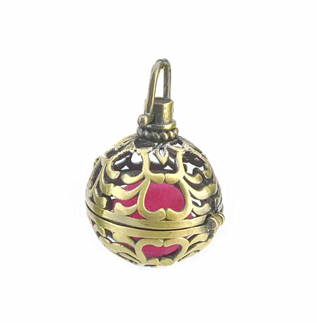 37x25mm Vintage Filigree Hollow Round Ball Box Cage Locket Pendant For DIY Essential Oil Diffuser Perfume Sound Chime Necklace