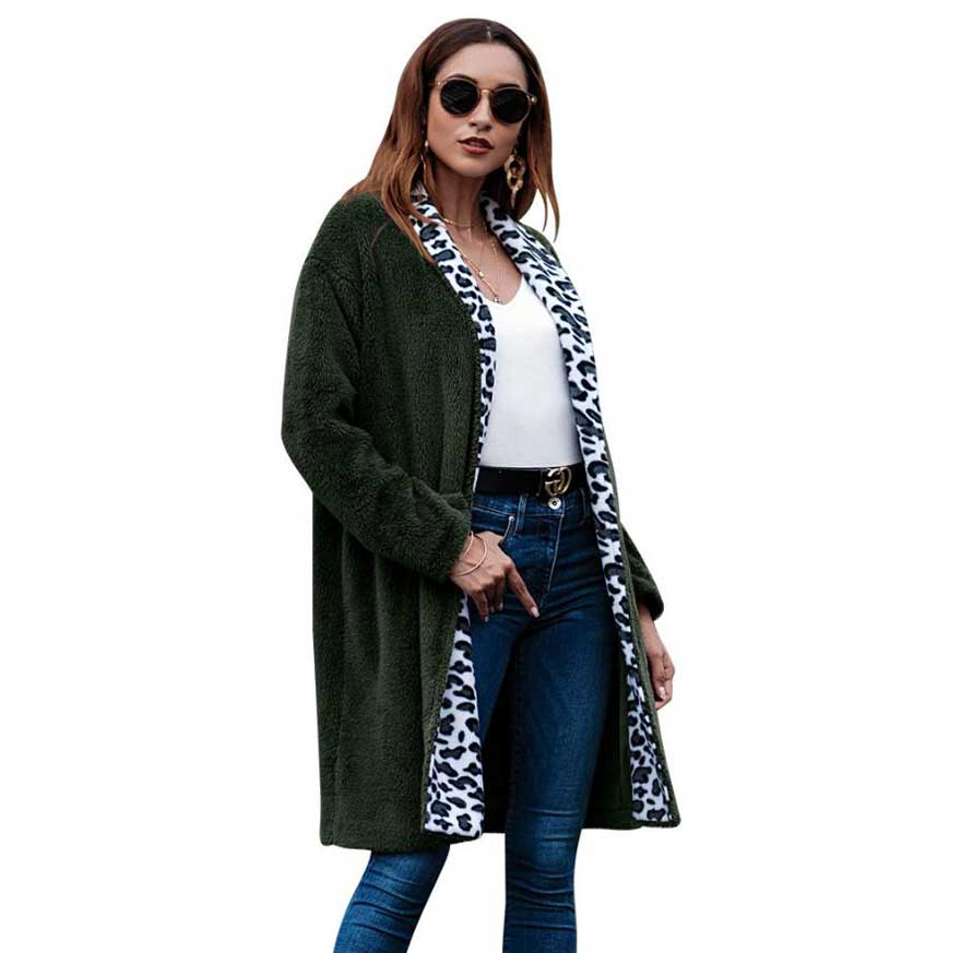 Fashion Ladies Women Long Coats 2018 Spring Autumn Clothing Women Outerwear Leopard Lapel Plush Open Stitch Women Clothes Winter