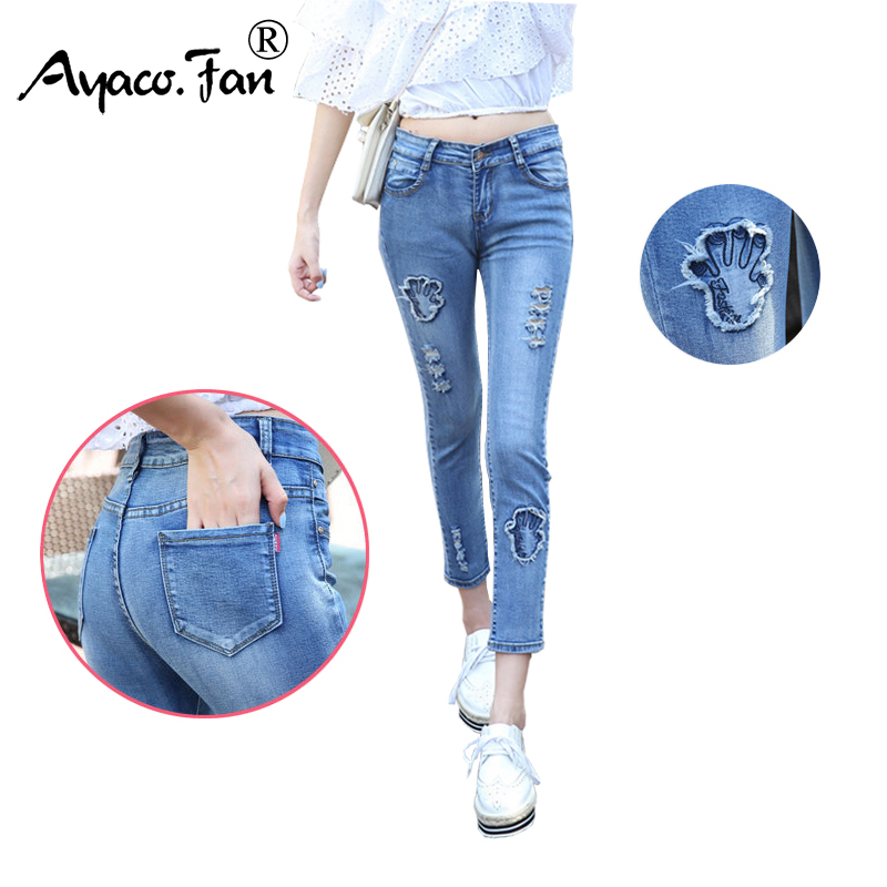 Summer Embroidery Jeans for Students Women Blue Ankle-Length Pants Fashion Skinny Denim Ladies Trousers Female Slim Pencil Pants 2017 spring new women sweet floral embroidery pastoralism denim jeans pockets ankle length pants ladies casual trouse top118
