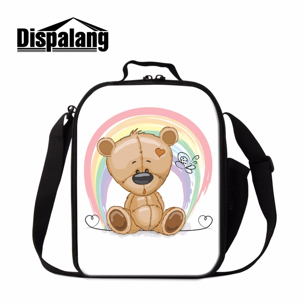 Dispalang Cute Bear Lunch Bags for Kids Baby Lunch Cooler Bag Cartoon Design Lunch Box Accessories Crossbody Food Bag for Girls