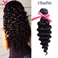 3 Bundles Indian Virgin Hair 8A Indian Deep Wave Curly Weave 100% Human Hair Weaving No Shedding Fast Ship Remy Queen Hair