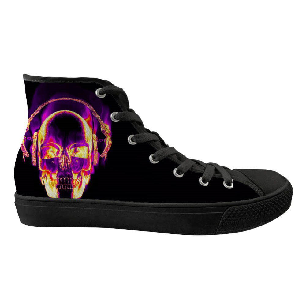 Baskets personnalisées noir Cool 3D crâne marque Designer femmes décontracté haut chaussures plates dames printemps toile chaussures vulcanisées